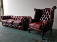 ANTIQUE OXBLOOD LEATHER CHESTERFIELD LOUNGE SUITE / 3 SEATER WINGBACK HIGHBACK ARMCHAIR CAN DELIVER