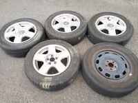 Set of 4 - 15'' VW Alloy Wheels 5 x 100 1JO 601025B + 195 65 15 Tyres + Steel Spare