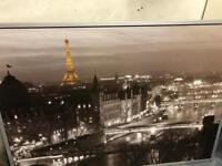 Picture of Paris in black and white with silver frame.