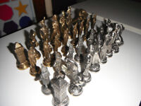 Napoleon Metal Chess Set in Brass & Silver Plate Finishes