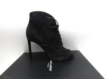 Saint Laurent Black Jane 105 Open Toe Ankle Boots Booties 38.5 8.5
