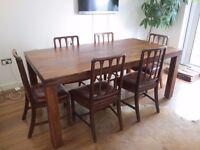 John Lewis Samara 8 Seater Wooden Dining Table & 6 vintage chairs