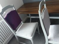 2 grey chairs painted with grey chalk paint