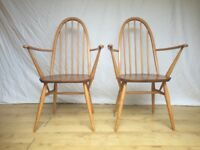 Pair of vintage Ercol 365a Windsor armchair carvers dining chairs