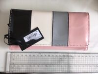 House of Fraser wallet - patent pink, black grey with gold clasp