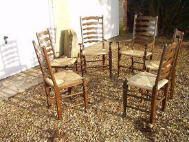 Set of 6 Ladderback Rush Chairs
