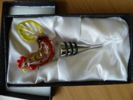 Shudehill Giftware Beautiful Glass Rooster Bottle Stopper
