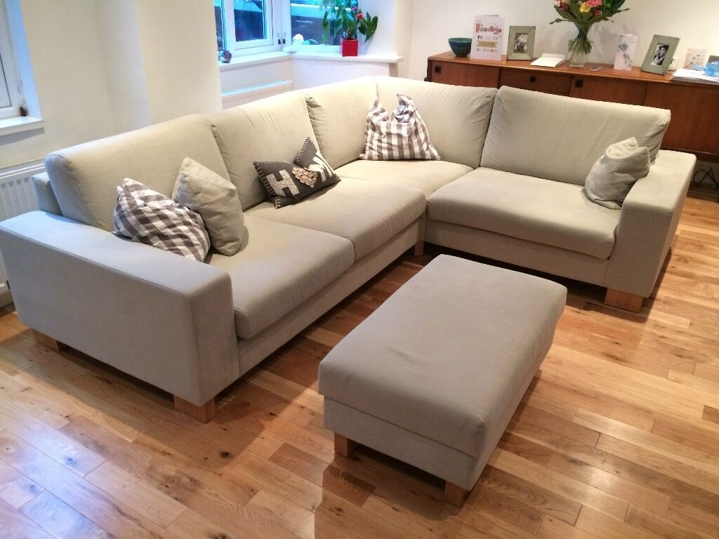 Grey fabric corner sofa with footstool for sale due to for Fabric couches for sale