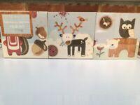 NEW CUTE WOODEN WALL ART BLOCKS FOR NURSERY WOODLAND ANIMALS