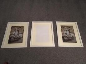 3 white photo frames