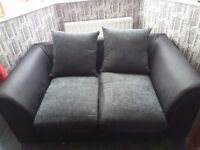 2 SEATER FRABIC AND LEATHER SOFA