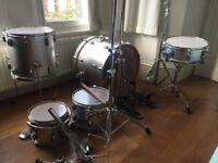 Premier Cabria 5 piece drum kit in chrome silver