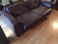 M&S Brown Leather 3 Seater Sofa (RRP £1,000)