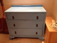 Antique Solid wood chest of drawers and mirror dresser painted, bedroom furniture, upcycle, restore