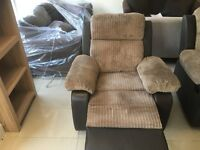 Brand New Jumbo Beige Cord And Leather Reclining Chair