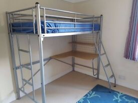 Aluminum Bunk Bed kids Strong Frame 3ft single bed Aluminum high sleeper bunkbed with stairs cheap.