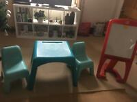 ELC blue table and 2 chairs. Step 2 Easel £10