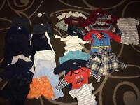 30 piece lot. Boy clothes 0-3/3-6 month. Some with tags