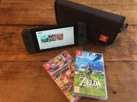 Nintendo Switch Grey Used Mint Condition with Zelda and Mario Kart Premium Case and Screen Protector
