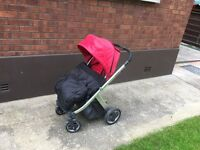 Oyster Babystyle pushchair and hood on Silver frame