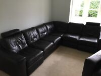 Natuzzi Black Leather Corner Sofa & Chair