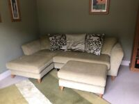 L Sofa in green with footstool