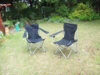Two folding chairs suitable for camping fishing trips etc