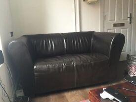 Italian Brown Leather Designer Sofa