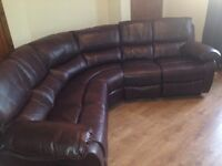 Brown leather curved recliner sofa