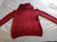 Size 10 cold shoulder red jumper