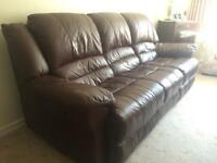 3 seater leather settee with matching armchair