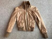 OASIS LEATHER TAN JACKET SIZE 8