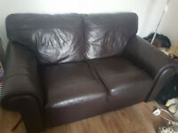 2 x Mocha Brown Full Leather Sofas (3 Seater + 2 Seater) - COMPLETELY FREE, JUST COME AND COLLECT!