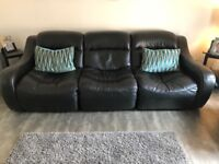 3 seater plus 2 single chairs & footstool black leather