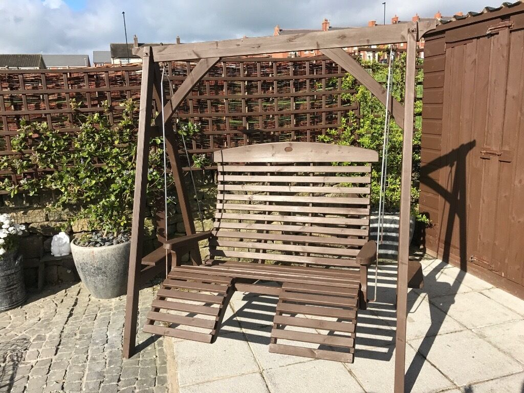 Garden Wooden Swing Seat 2 Seater foot rests small side tables for ...