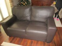 Two Brown Leather 2 Seat Sofas