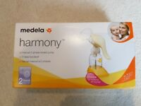 Medela Harmony Manual Breastpump with box, instructions + Tommee Tippee Sterile Milk Bags