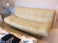 Cream real leather sofa bed