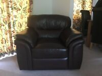 Leather look 3 seater and chair in really good condition