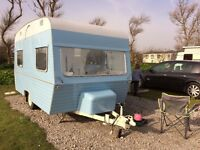 Vintage Blue Caravan 1960's Astral Scout 4/5 berth. shabby chic interior