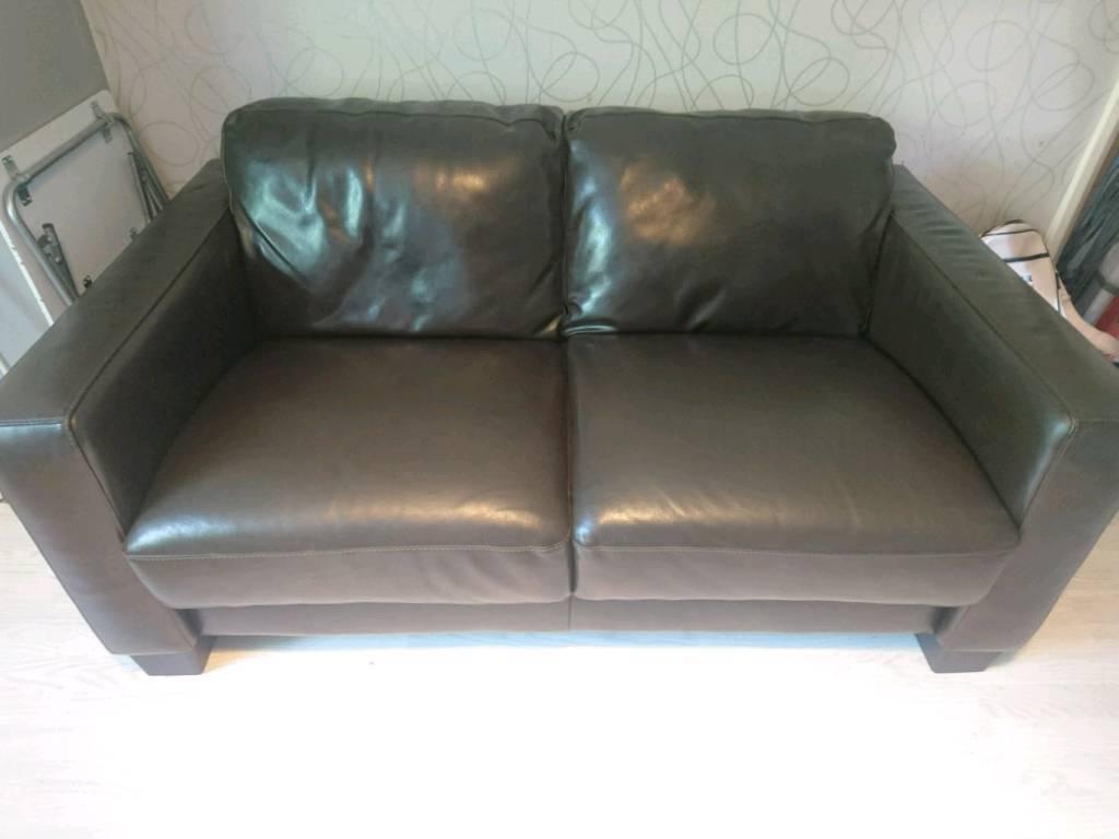 Sofitalia 4 And 2 Dark Brown Real Leather Sofa