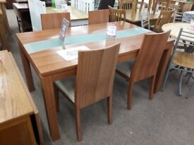 Light Wood Dining Table + 4 Chairs (With Glass Panel)