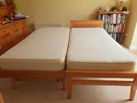 John Lewis single bed with trundle guest bed underneath in beech.