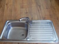 Kitchen sink with chrome mixer tap with connections - vgc stainless steel right hand drainer
