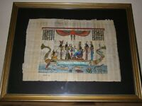 Original Egyptian Papyrus Painting in a gilt edged frame
