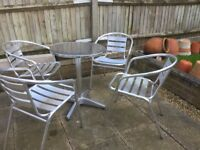 ALUMINIUM PATIO SET: BISTRO ROUND TABLE AND FOUR CHAIRS