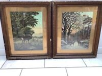 LARGE FRAMED STAG & DEER PICTURES BY R.GEORGIUS