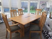 Cookes Dinning Table, 2 Carver chairs and 4 Chairs