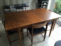 Retro Teak Extending Dining Table & 4 Chairs by Bath Cabinet Makers