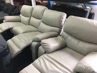 New/Ex Display LazyBoy Grey Leather 3 Seater Recliner Sofa + 1 Seater Recliner Sofa